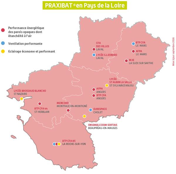 Carte Praxibat® en Pays de la Loire. Voir descriptif détaillé ci-après