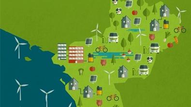 Infographie du Pays de la Loire avec des voitures électriques en train de se recharger, des panneaux solaires, des éoliennes