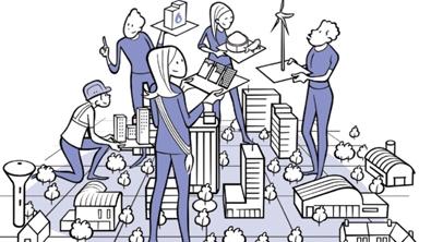 Illusration de plusieurs personnages qui tiennent chacun dans leurs mains une façon de produire de l'électricité, panneaux solaires, une éolienne etc...